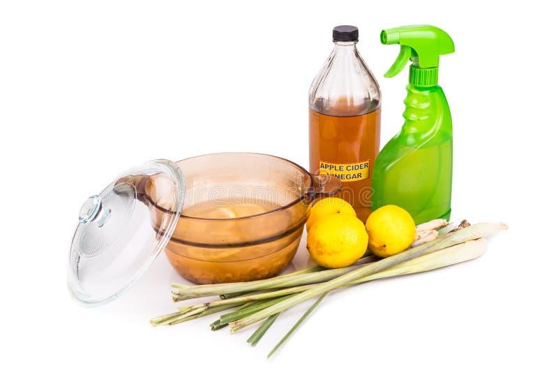 Äppelcidervinäger, citron, effektiv kryprepelle för lemongrass royaltyfria foton