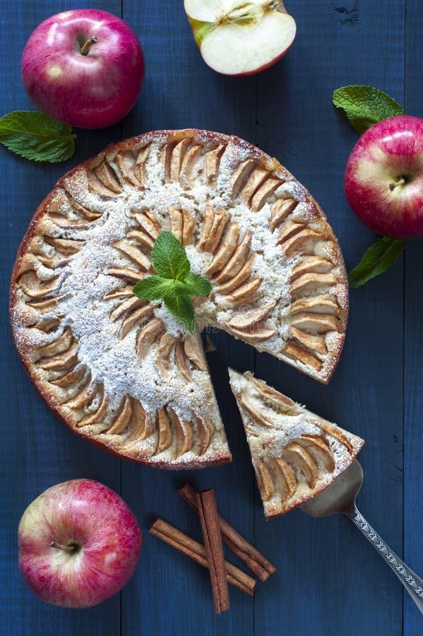 Äppelpaj med ett stycke och kanelbruna pinnar arkivfoto
