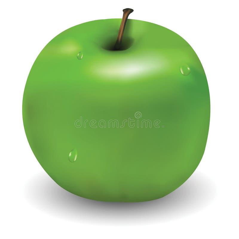 äpple få gröna smakliga waterdrops stock illustrationer
