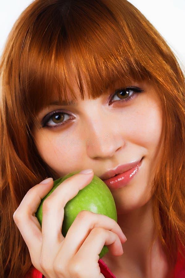 äpple - grön kvinna royaltyfri fotografi