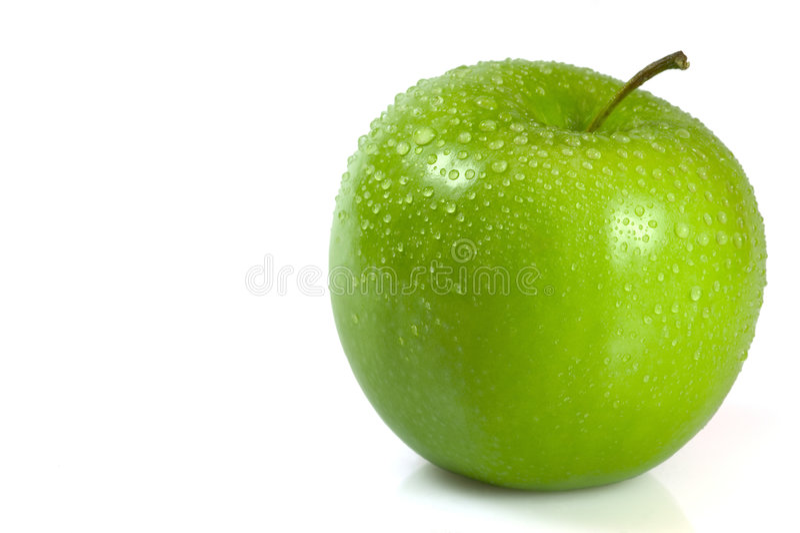 äpple - green isolerad white royaltyfria foton
