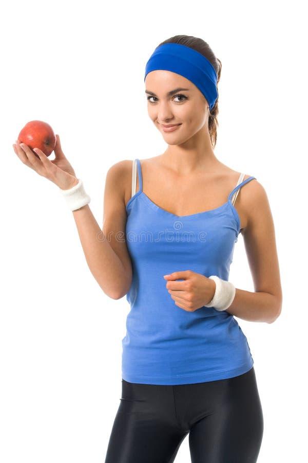 äpple isolerad kvinna arkivfoton