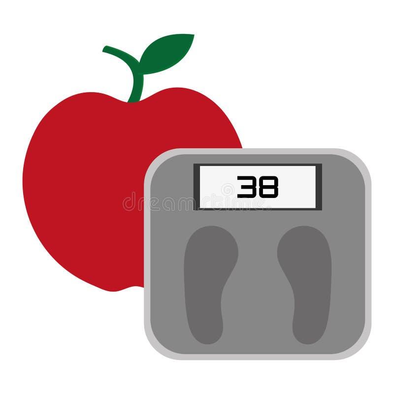 äpple- och viktskala stock illustrationer