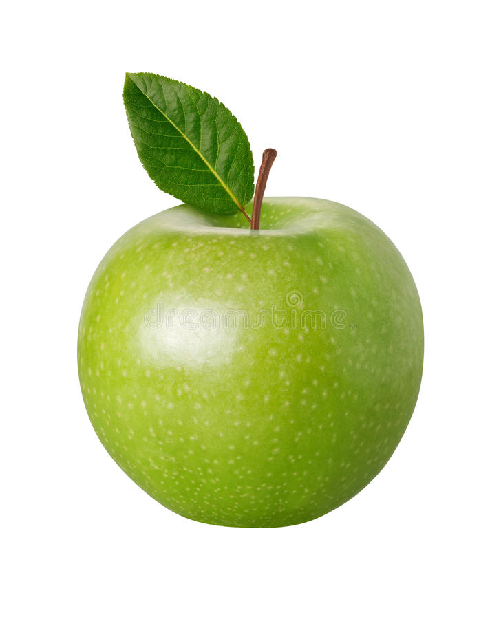 äpple som fäster den gröna banan ihop arkivbild