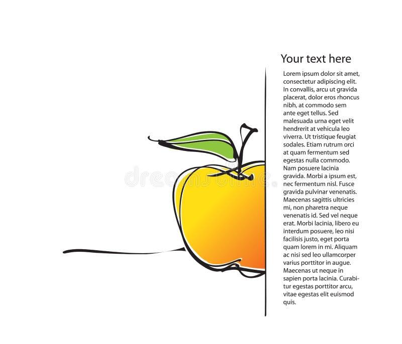 äpple som tecknar frihandssymbolsorienteringssidan stock illustrationer