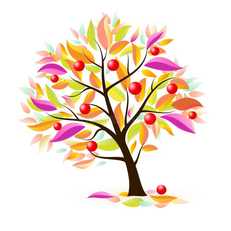 äpple stylized tree royaltyfri illustrationer