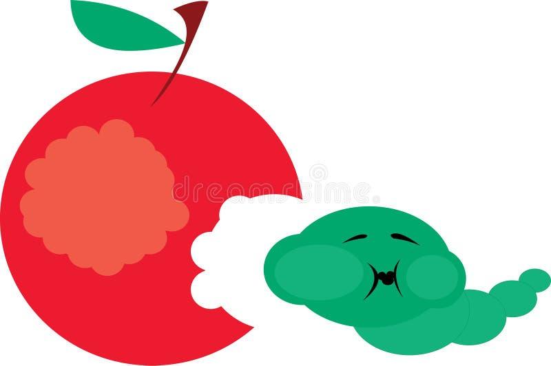 äpplecaterpillar royaltyfri illustrationer