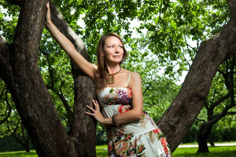 äpplefruktträdgårdkvinna fotografering för bildbyråer