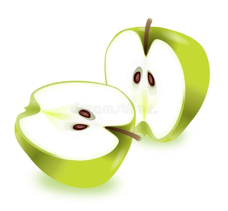 äpplehälfter royaltyfri illustrationer