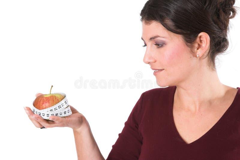 äpplekvinna royaltyfri foto