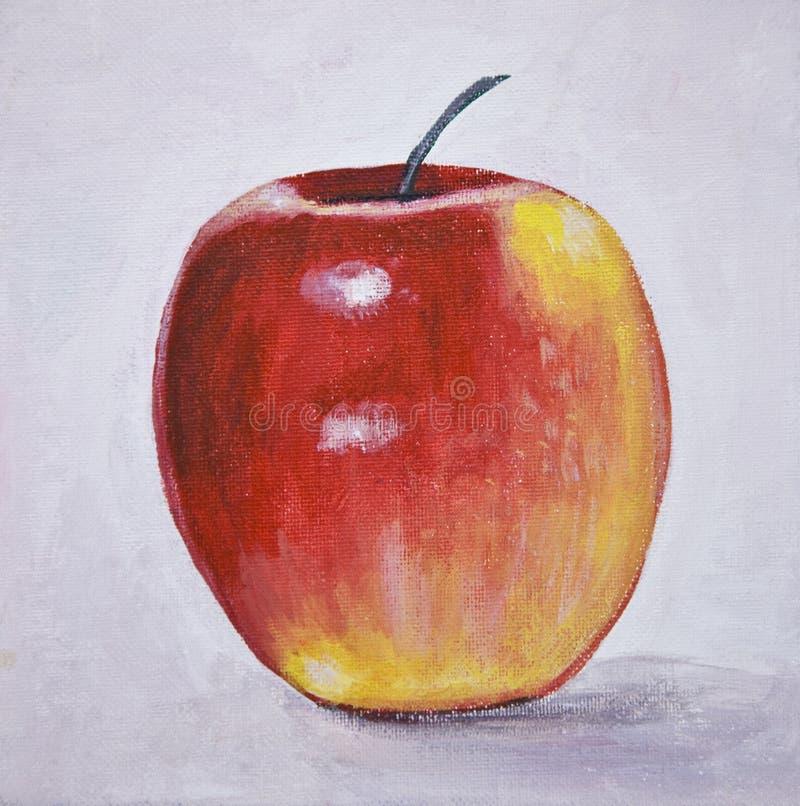 äpplelivstidsmålning fortfarande stock illustrationer