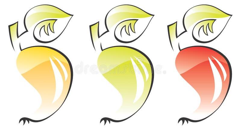 äpplen bär fruktt stylized vec royaltyfri illustrationer