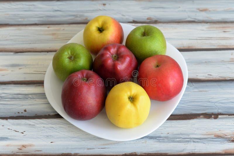 Äpplen i en platta på tabellen royaltyfria foton