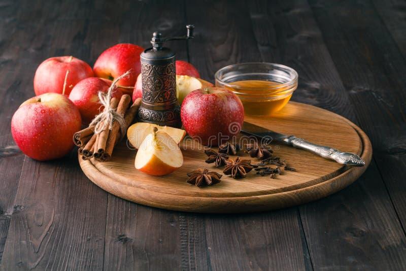 Äpplen, kanel, anis och kryddnejlika med plåt fotografering för bildbyråer
