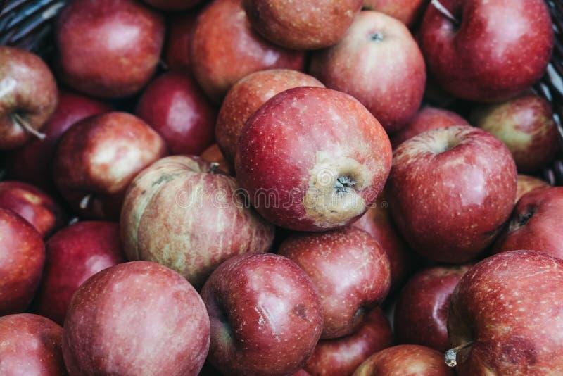 äpplen market den röda stallen royaltyfria foton