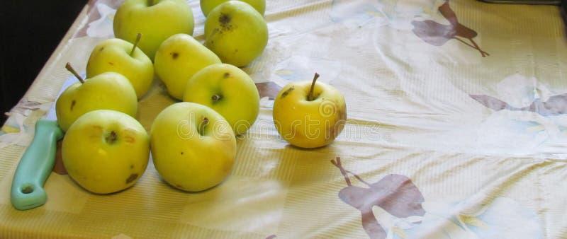 Äpplen och kniv på bordet royaltyfria bilder