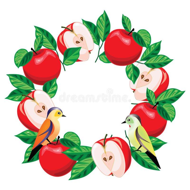 Äpplen ordnas i en cirkel stock illustrationer