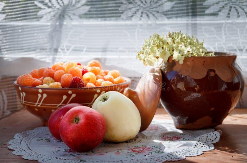 Äpplen, platta med hallon och sprucken lerakruka med blomman i solljus royaltyfri foto