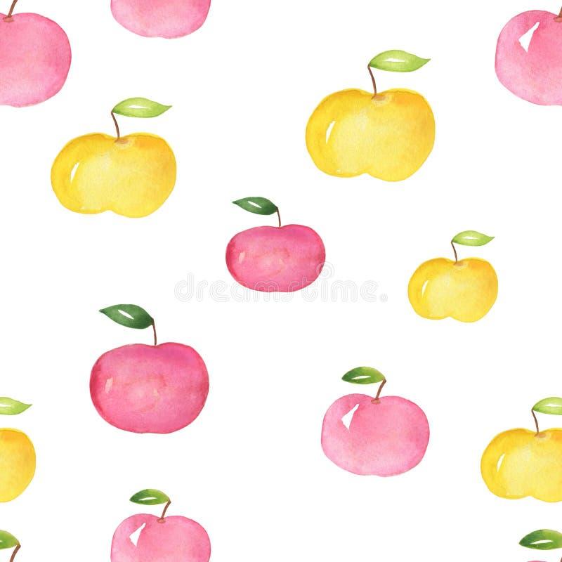 Äpplen Sömlös modell för mat, målad vattenfärg manuellt royaltyfri illustrationer