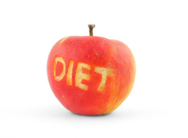 äpplet bantar ut rött skrapat ord arkivfoto