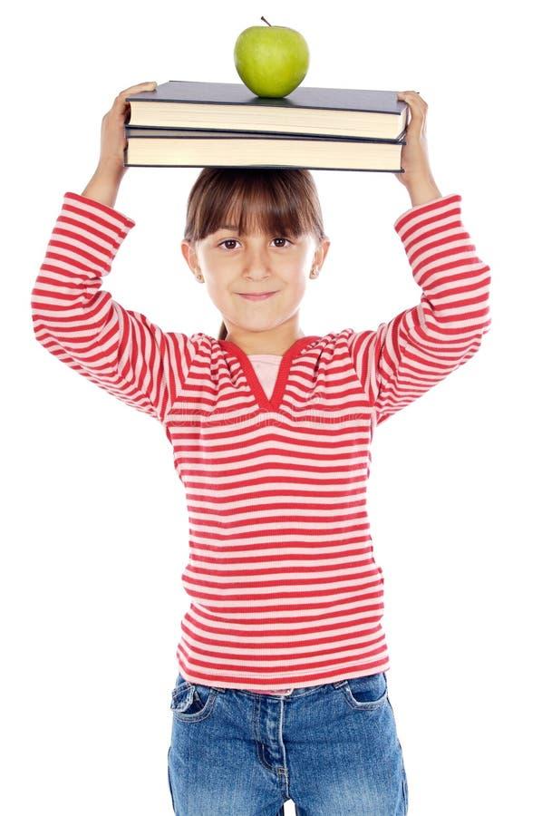 äpplet books flickahuvudet fotografering för bildbyråer