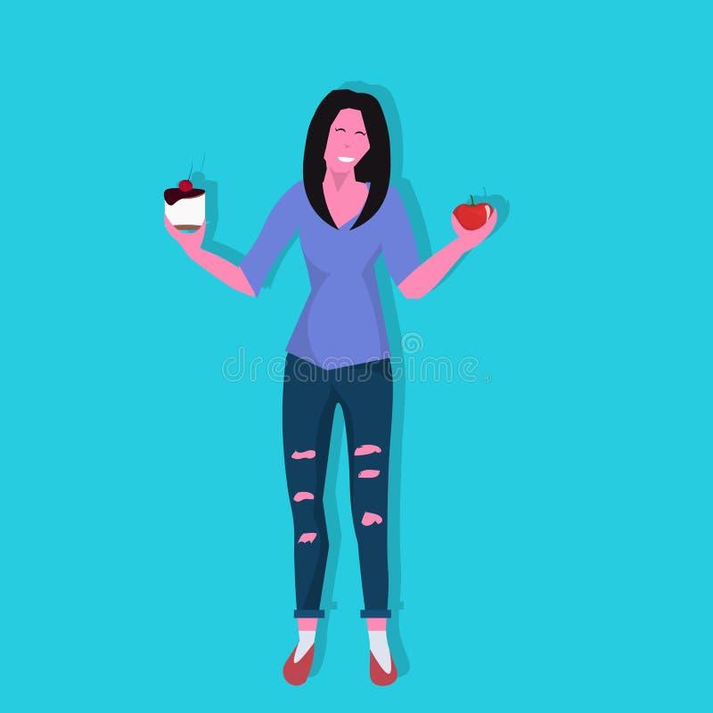 Äpplet för kvinnainnehavkakan motstår frestelsedanande som höger diet-prima viktförlust bantar tecknade filmen för dilemmabegrepp vektor illustrationer