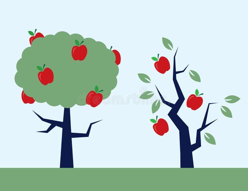 äppletrees royaltyfri illustrationer