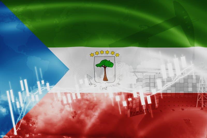 Äquatorialguineaflagge, Börse, Austauschwirtschaft und Handel, Erdölgewinnung, Containerschiff im Export- und Importgeschäft und lizenzfreie abbildung