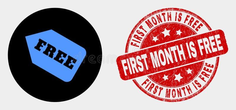 Är den fria etikettssymbolen för vektorn och att bedröva den första månaden den fria skyddsremsan vektor illustrationer