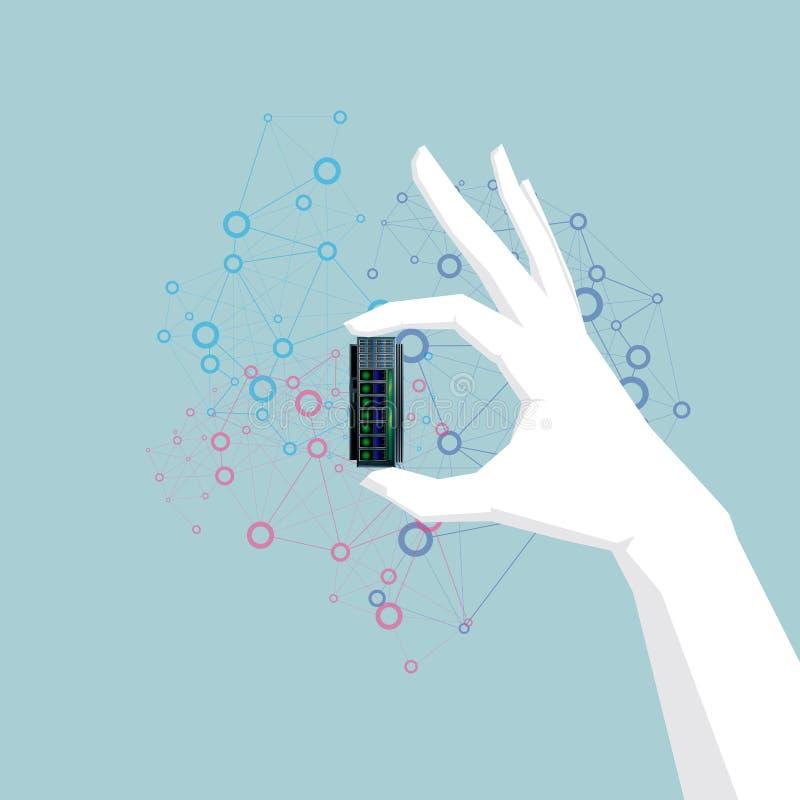 Är den hållande hårddisken för handen, hand vit beräknande begreppsdesign för oklarhet stock illustrationer