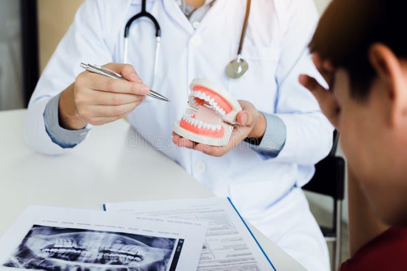 Är den hållande pennan för den asiatiska tandläkaren som pekar till tandproteserna och, descrien arkivfoton