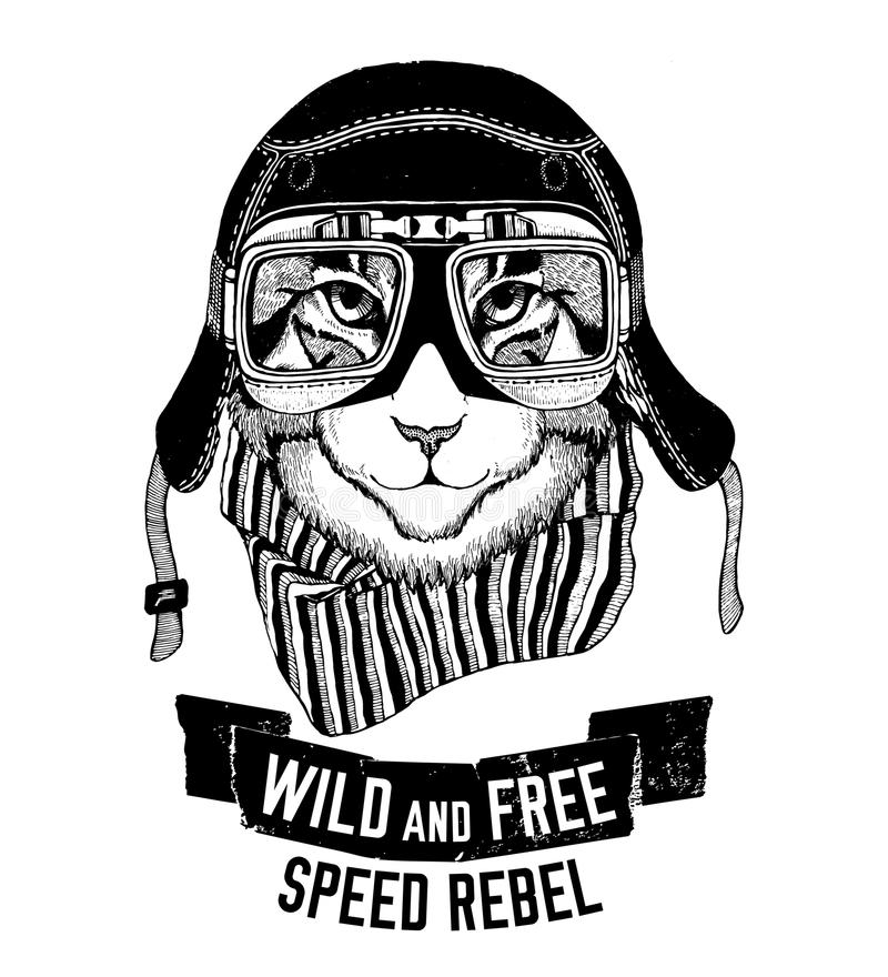 Är den lösa katten för den lösa katten det lösa och fria T-tröjaemblemet, mallcyklisten, dragen illustration för motorcykeldesign stock illustrationer