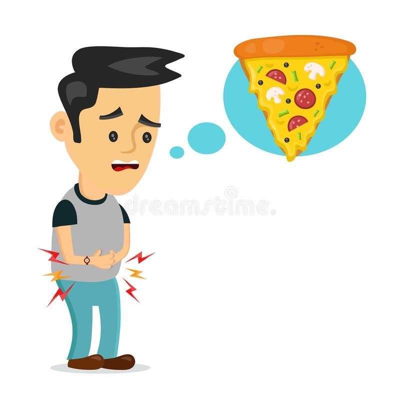 Är den ledsna mannen för ungt lidande hungrig royaltyfri illustrationer