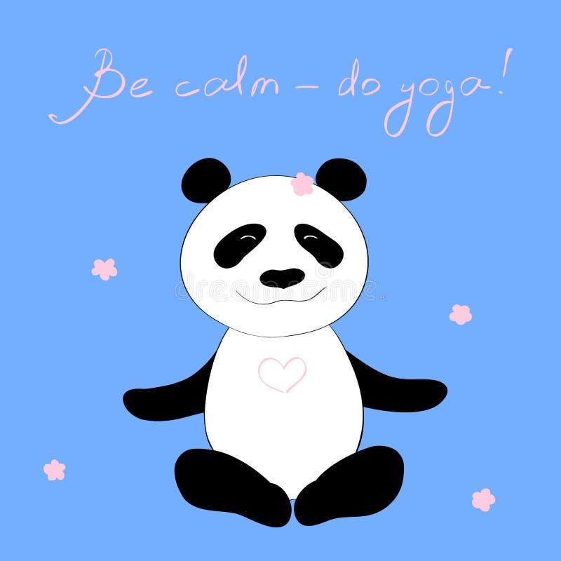 Är den lyckliga pandan för vektorillustrationen som gör yogaövningen som dekoreras med rosa färgblomningar, och titel, lugna gör  stock illustrationer