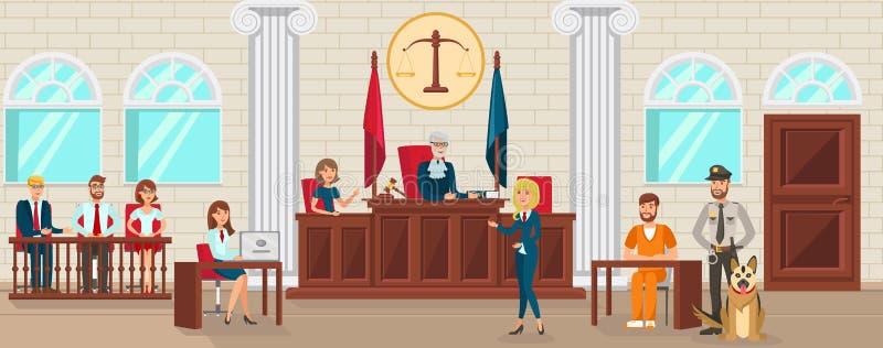 Är den plana advokaten Protects Accused för vektorn vittne royaltyfri illustrationer