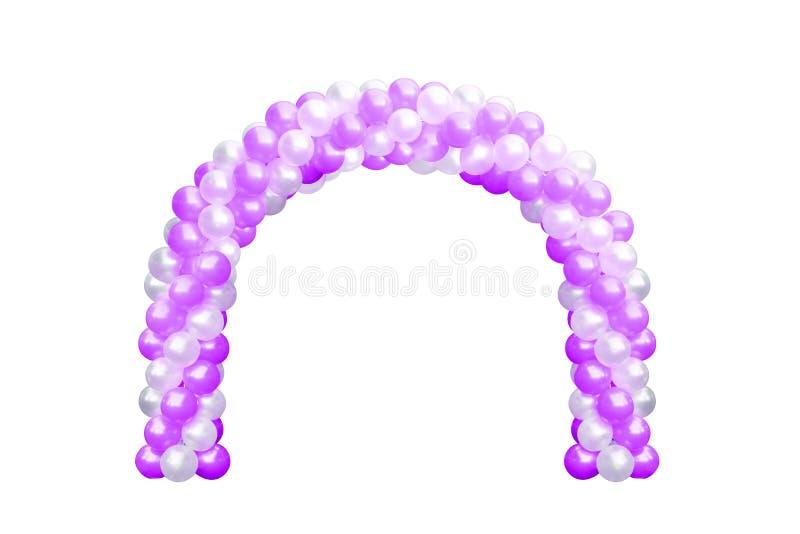 Är den purpurfärgade rosa färgen för ballongvalvgångdörren och vit, bågar som gifta sig, beståndsdelar för garnering för ballongf arkivfoton