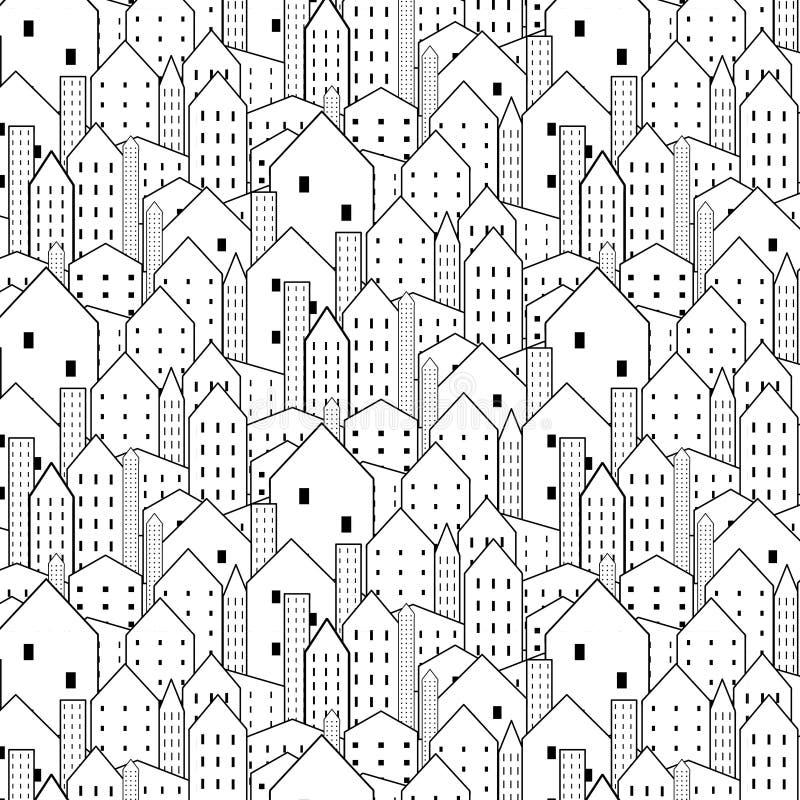 Är den sömlösa modellen för staden i svartvitt upprepande textur vektor illustrationer