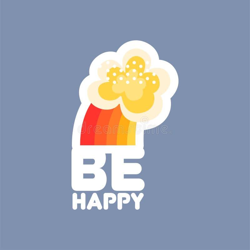 Är den sociala nätverksklistermärken för den plana designen lycklig text med regnbågen och molnet stock illustrationer
