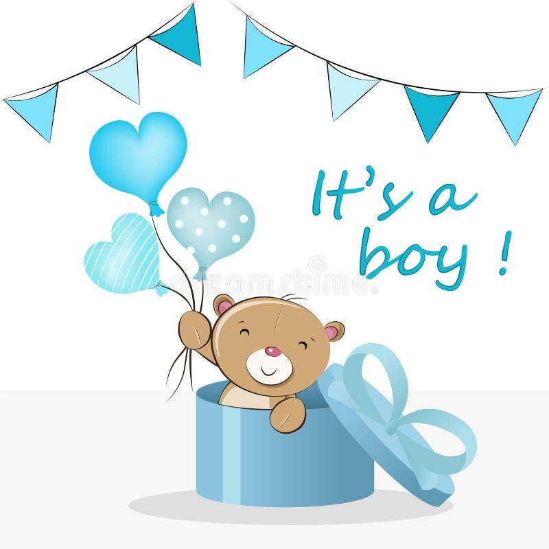 'Är det en pojke ', Illustration f?r vektor f?r baby showerh?lsningkort stock illustrationer