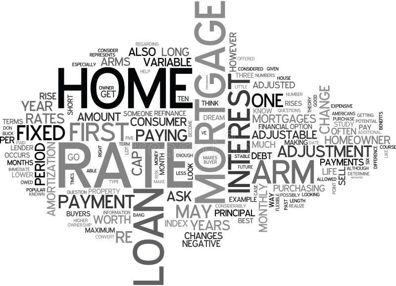 Är det justerbara Rate Mortgages Worth It Word molnet stock illustrationer