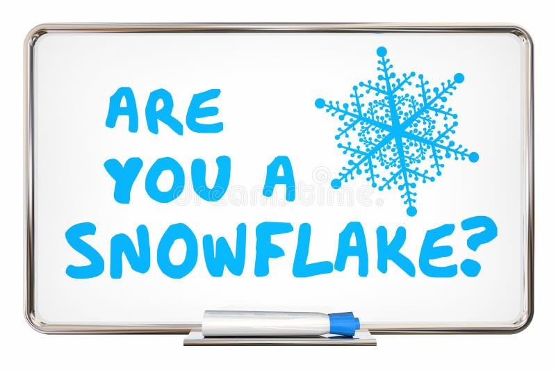 Är du en känslig PC bräcklig Millennial 3d Illustrat för snöflinga stock illustrationer