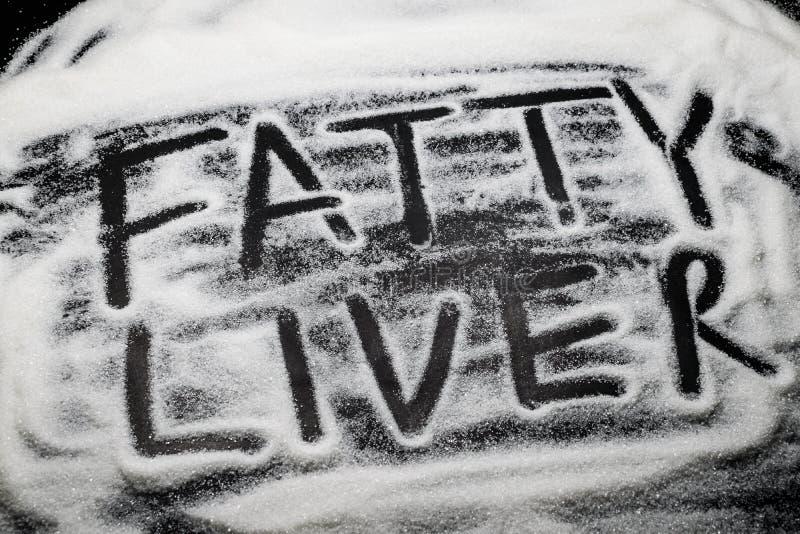 Är fettig lever för ord som är skriftlig med och i sockerkorn, socker knoen royaltyfria foton