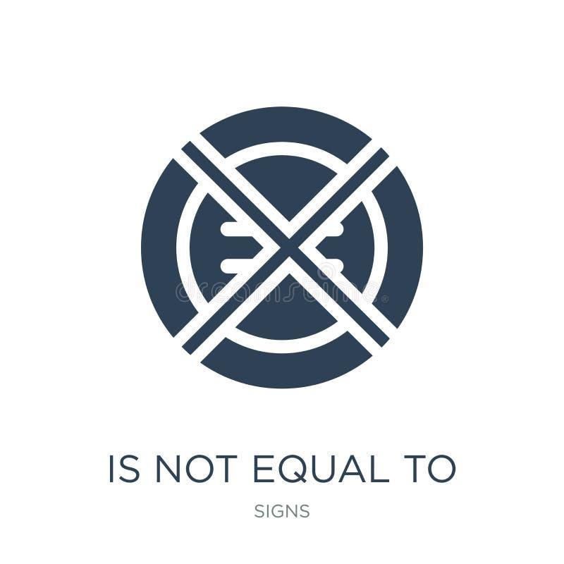 är inte jämbördigt till symbolen i moderiktig designstil är inte jämbördigt till symbolen som isoleras på vit bakgrund inte jämbö stock illustrationer