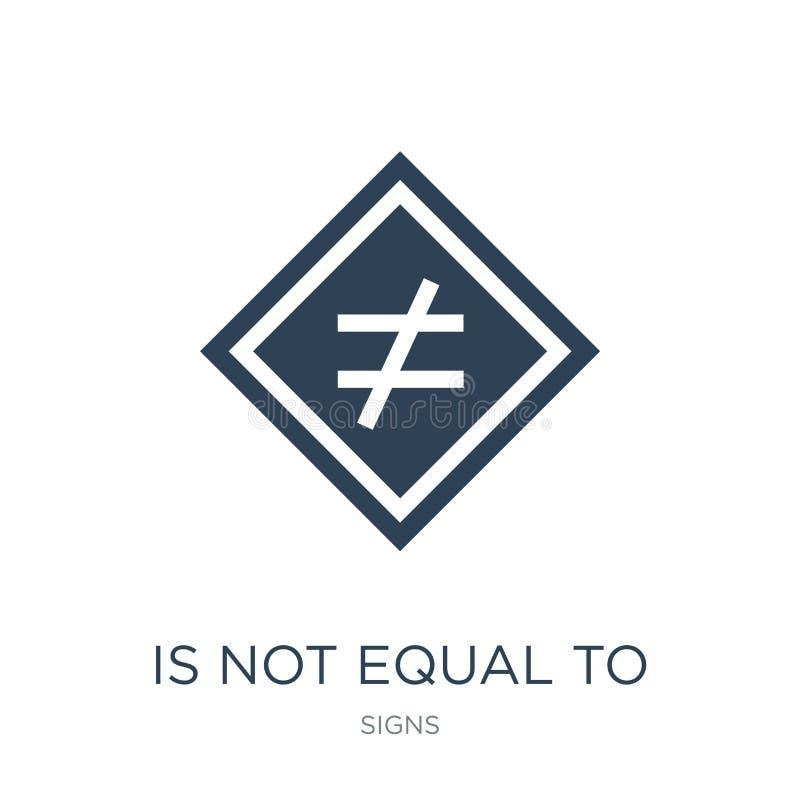 är inte jämbördigt till symbolen i moderiktig designstil är inte jämbördigt till symbolen som isoleras på vit bakgrund inte jämbö vektor illustrationer