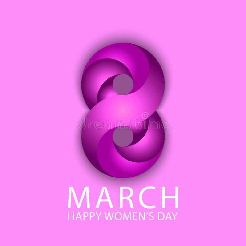 8 är lyckliga internationella kvinnor för mars bakgrund för affisch för dagvårferie Violett bandstil för nummer 3d 8 Gullig elega vektor illustrationer