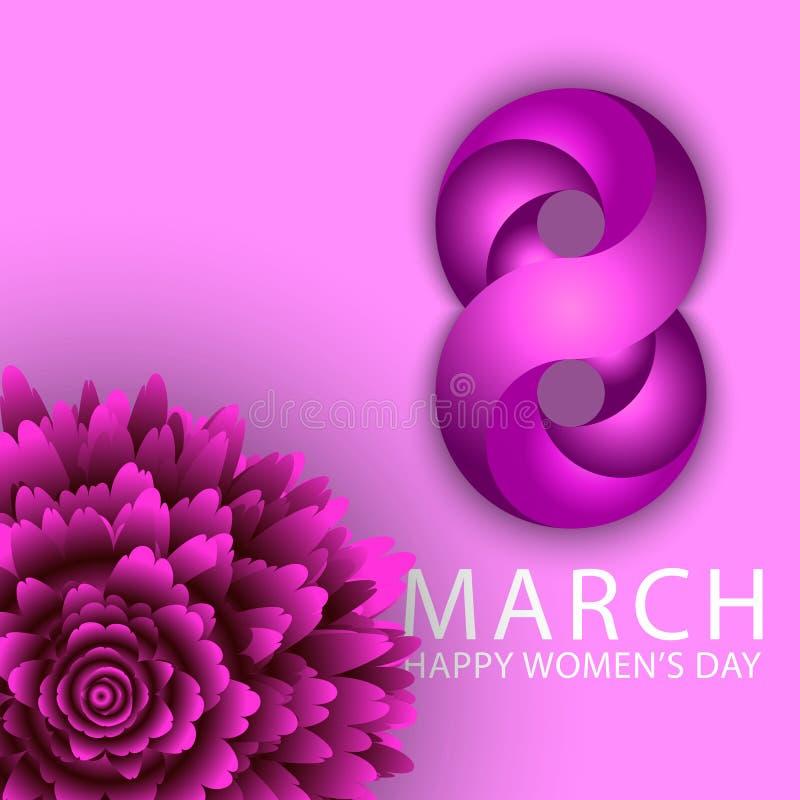 8 är lyckliga kvinnor för mars bakgrund för dagferieaffisch Violett krysantemumblomma och diagram åtta av det purpurfärgade bande royaltyfri illustrationer