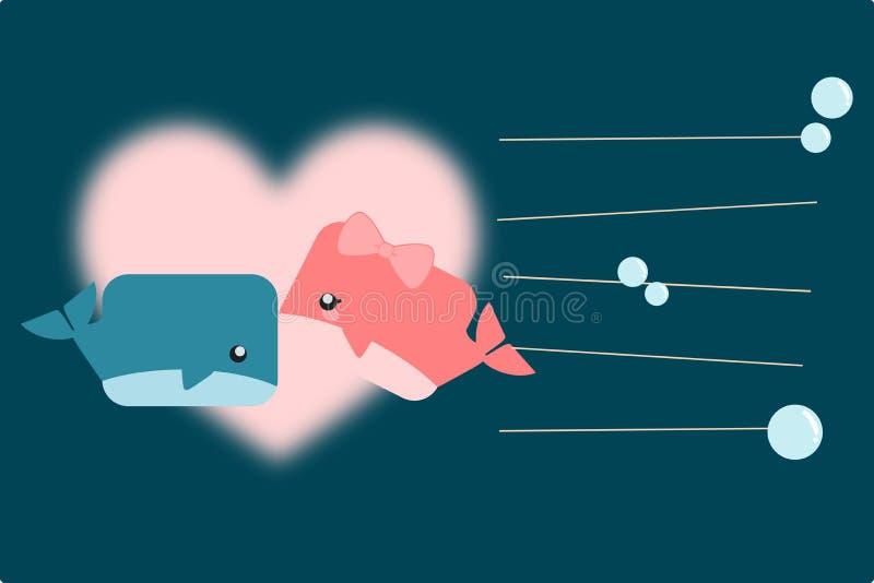 Är manliga och kvinnliga val för den gulliga tecknade filmen kyssande under havet Det finns stor rosa hjärta bak den gulliga teck stock illustrationer