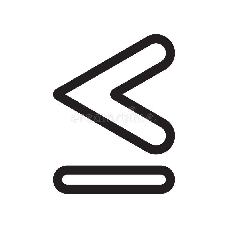 Är mindre, än eller jämbördigt till tecknet och symbolet för symbolsymbolsvektor som isoleras på vit bakgrund, är mindre än eller vektor illustrationer