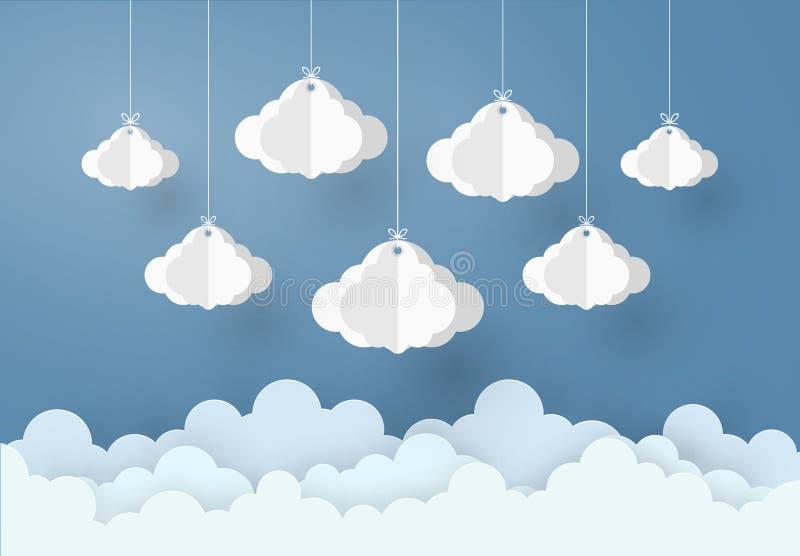 Är mobil stil för den pappers- konstdesignen begreppet den regniga säsongen, molnet och regn på mörk bakgrund, illustration för v stock illustrationer