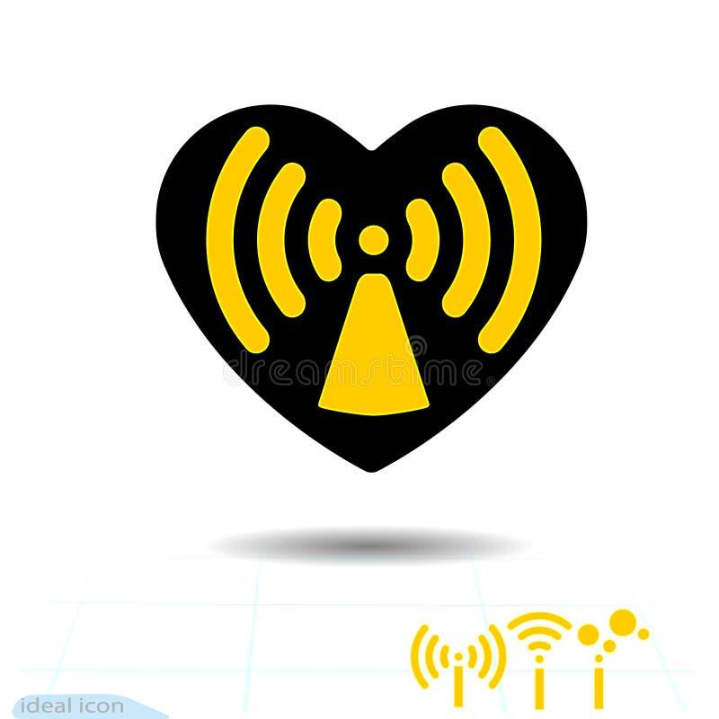 Är svart hjärta för symbolen faran för symbolradiovågor Förälskat, radio och wifi vektor Dag för valentin s för avlägsen internet royaltyfri illustrationer